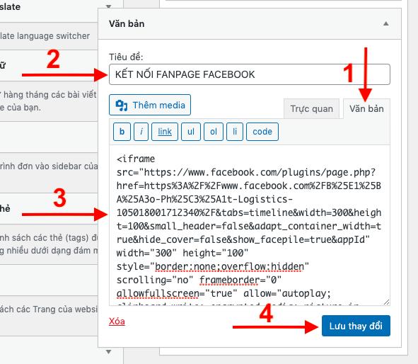 Dán đoạn mã code vào tab văn để để thực hiện thao tác chèn fanpage vào website wordpress