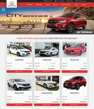 Giao diện web bán ô tô Honda