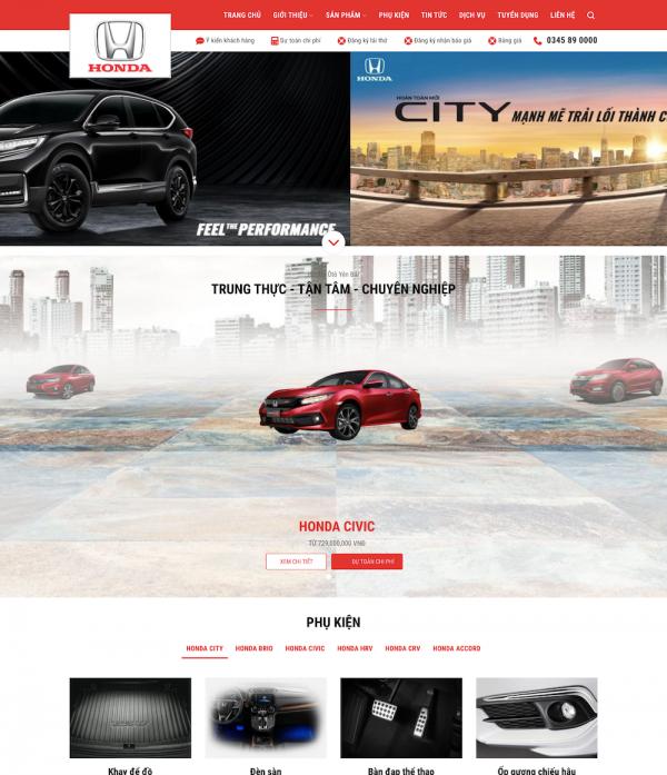 Mẫu giao diện website bán ô tô Honda