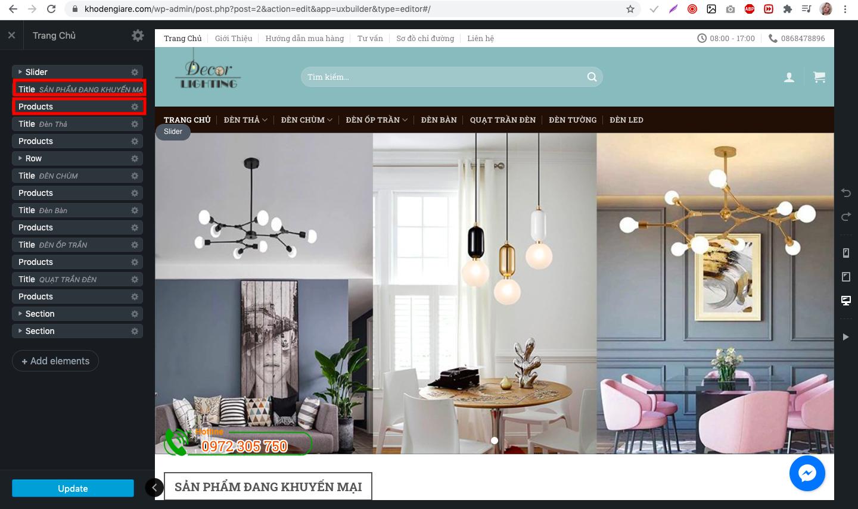 Hiển thị danh mục sản phẩm trên trang chủ website
