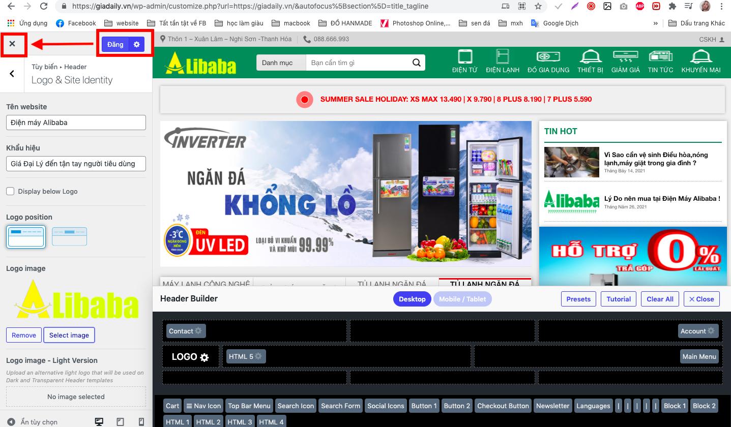 Hoàn thiện việc thay đổi logo trên website wordpress