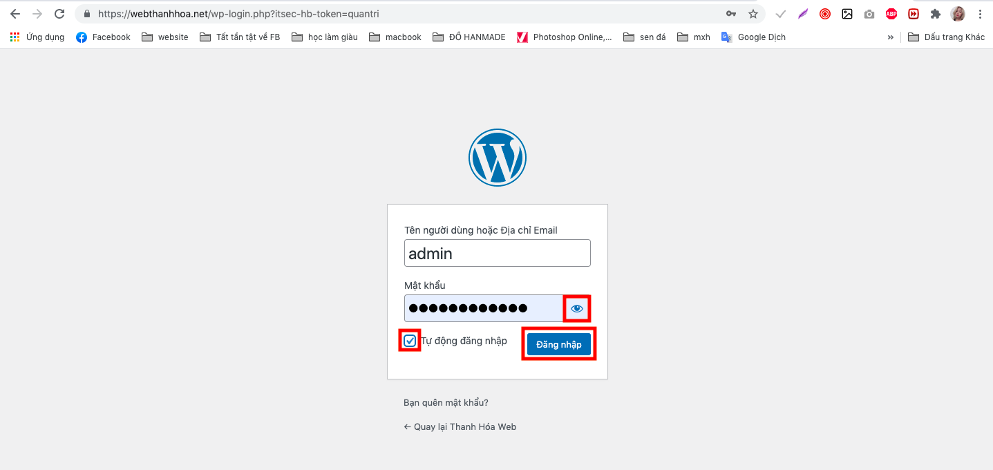 Điền chính xác tài khoản & mật khẩu để đăng nhập quản trị website wordpress