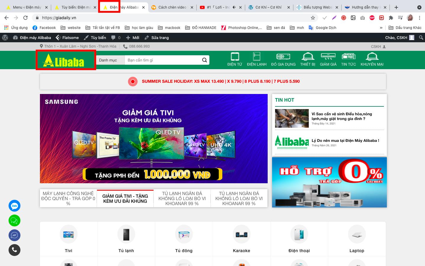 Thay đổi biểu tượng site trên website wordpress