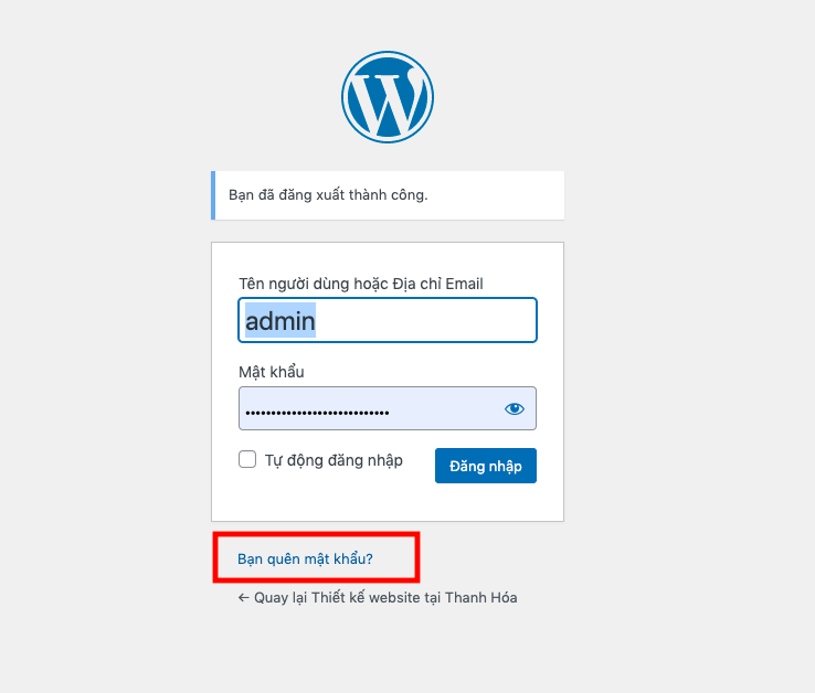 Đổi mật khẩu website wordpress thông qua email quản trị