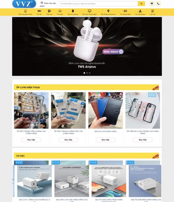 Mẫu website phụ kiện điện thoại
