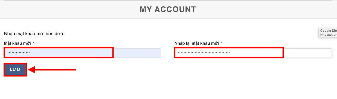 Nhập mật khẩu mới và xác nhận lưu cập nhật