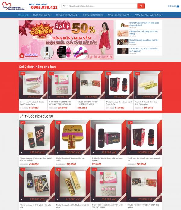 Thiết kế website thuốc kích dục